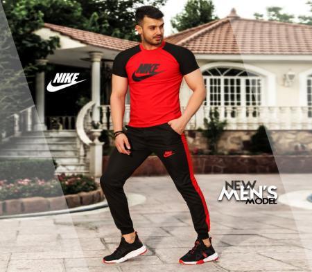 ست تیشرت وشلوار Nike مدل Adash (قرمز)